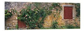 PVC-tavla  Climbing roses on old stone wall - Ric Ergenbright