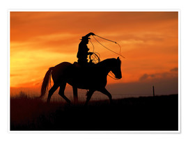 Premiumposter Cowboy with horse in the sunset