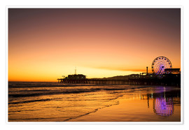 Premiumposter  Santa Monica Pier in the evening - Dennis Flaherty
