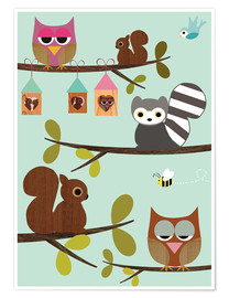 Premiumposter  Happy Tree with cute animals - owls, squirrel, racoon - GreenNest