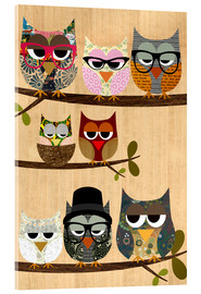 Akrylglastavla  Nerd owls on branches - my friends and me - GreenNest