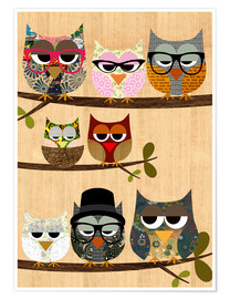 Premiumposter Nerd owls on branches - my friends and me