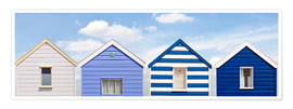 Poster  Blue beach huts, England - Olaf Protze