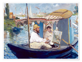 Premiumposter Monet painting on his studio boat