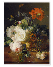Premiumposter Basket of flowers. (1710/20)