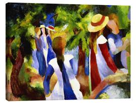 Canvastavla  Girls under trees - August Macke
