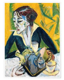 Premiumposter  Erna with cigarette (Ernaporträt in blue) - Ernst Ludwig Kirchner