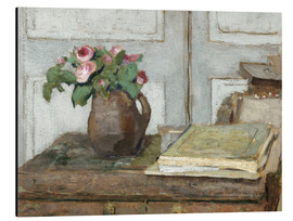 Aluminiumtavla  Still life with the artist painting set and a vase with moss roses - Edouard Vuillard