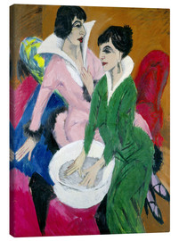 Canvastavla  Two women with washbasin, The sisters - Ernst Ludwig Kirchner