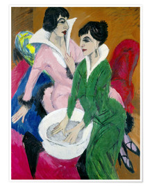 Premiumposter  Two women with washbasin, The sisters - Ernst Ludwig Kirchner
