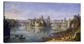 Canvastavla  The Tiber Island in Rome. 1685 - Gaspar van Wittel