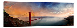 Akrylglastavla  San Francisco Golden Gate with rainbow - Michael Rucker