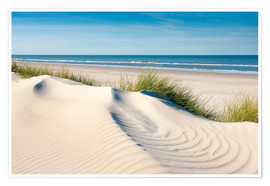 Premiumposter Langeoog seascape with dunes and fine beach grass