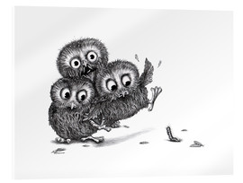 Akrylglastavla  Help, three owls and a monster - Stefan Kahlhammer