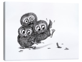 Canvastavla  Help, three owls and a monster - Stefan Kahlhammer