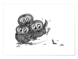 Premiumposter  Help, three owls and a monster - Stefan Kahlhammer