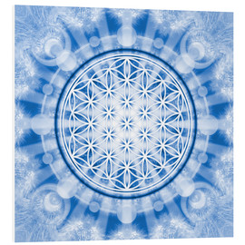 PVC-tavla  flower of life blue - symbol harmony and balance - blue - Lava Lova
