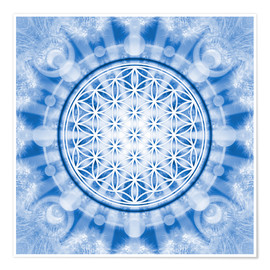 Premiumposter flower of life blue - symbol harmony and balance - blue