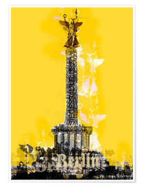 Premiumposter Berlin Victory Column (on Yellow)