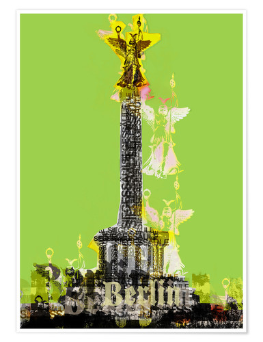 Premiumposter Berlin Victory Column (on Green)