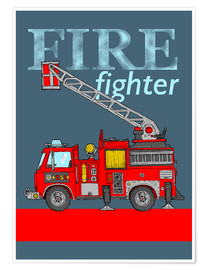 Premiumposter fire fighter fire truck