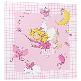 PVC-tavla  flying fairy with butterflies on checkered background - Fluffy Feelings