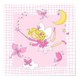 Premiumposter flying fairy with butterflies on checkered background