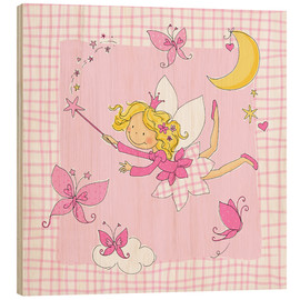 Trätavla  flying fairy with butterflies on checkered background - Fluffy Feelings