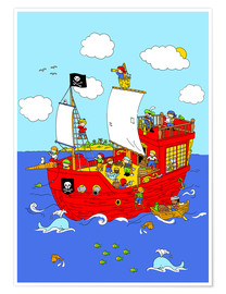 Premiumposter pirate ship scene
