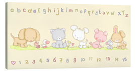 Canvastavla  baby pet animals with alphabet and numbers - Fluffy Feelings