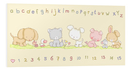 PVC-tavla  baby pet animals with alphabet and numbers - Fluffy Feelings