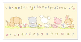 Premiumposter baby pet animals with alphabet and numbers