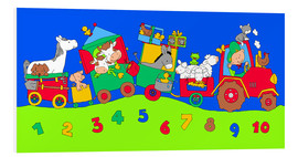 PVC-tavla  tractor train with farm animals and numbers - Fluffy Feelings