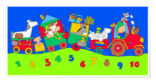Premiumposter tractor train with farm animals and numbers