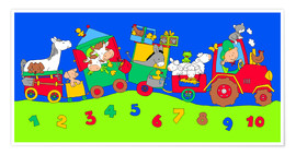 Premiumposter  tractor train with farm animals and numbers - Fluffy Feelings