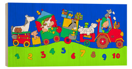 Trätavla  tractor train with farm animals and numbers - Fluffy Feelings