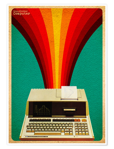 Premiumposter grandfather computer