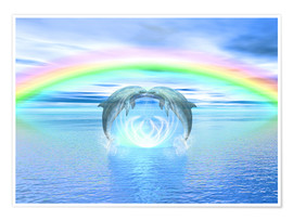 Premiumposter  Dolphins Rainbow Healing - Dolphins DreamDesign