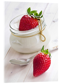 Akrylglastavla  Fresh strawberries with curd - Edith Albuschat
