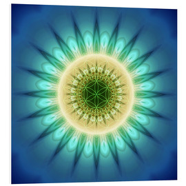 PVC-tavla  mandala blue light with Flower of Life - Christine Bässler