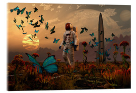 Akrylglastavla  A astronaut is greeted by a swarm of butterflies on an alien world. - Mark Stevenson