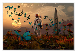 Premiumposter  A astronaut is greeted by a swarm of butterflies on an alien world. - Mark Stevenson