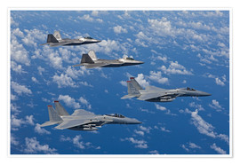 Premiumposter Two F-15 Eagles and F-22
