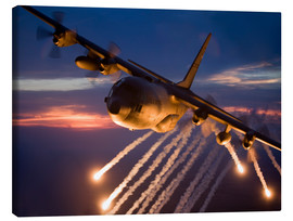 Canvastavla  C-130 Hercules releases flares - HIGH-G Productions