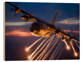 Trätavla  C-130 Hercules releases flares - HIGH-G Productions