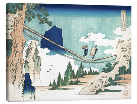 Canvastavla  The Suspension Bridge on the Border of Hida and Etchu Provinces - Katsushika Hokusai