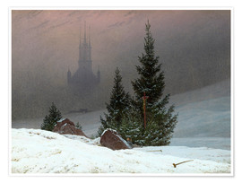 Premiumposter Winter Landscape with a Church