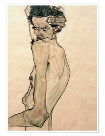 Premiumposter  Self Portrait with Arm Twisting above Head - Egon Schiele