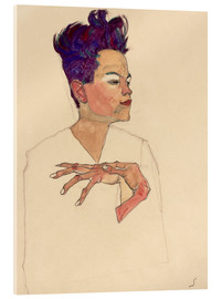 Akrylglastavla  Self Portrait with Hands on Chest - Egon Schiele