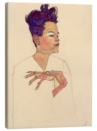Canvastavla  Self Portrait with Hands on Chest - Egon Schiele